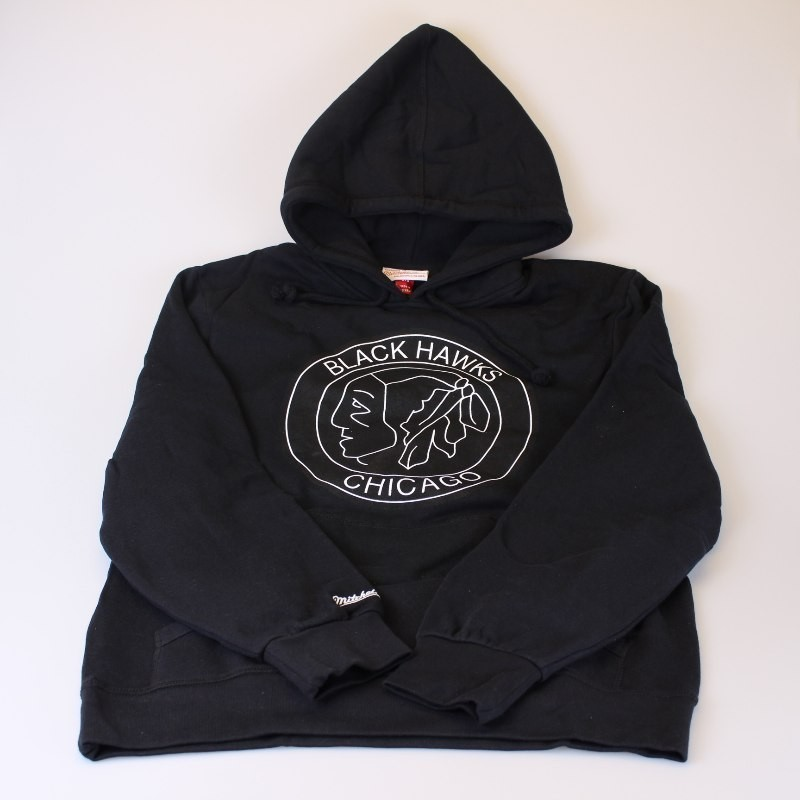 Chicago Blackhawks Black & White Logo Hoodie