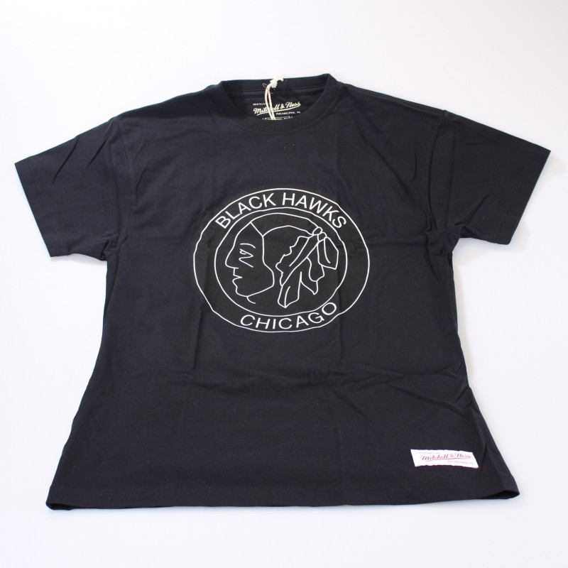 Chicago Blackhawks Black & White Logo T-Shirt